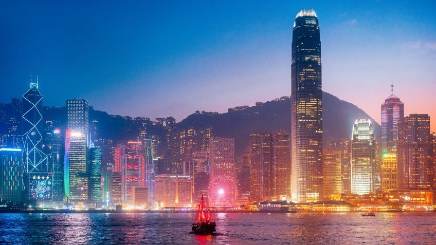 Cityscape Hong Kong with Junkboat at Twilight.