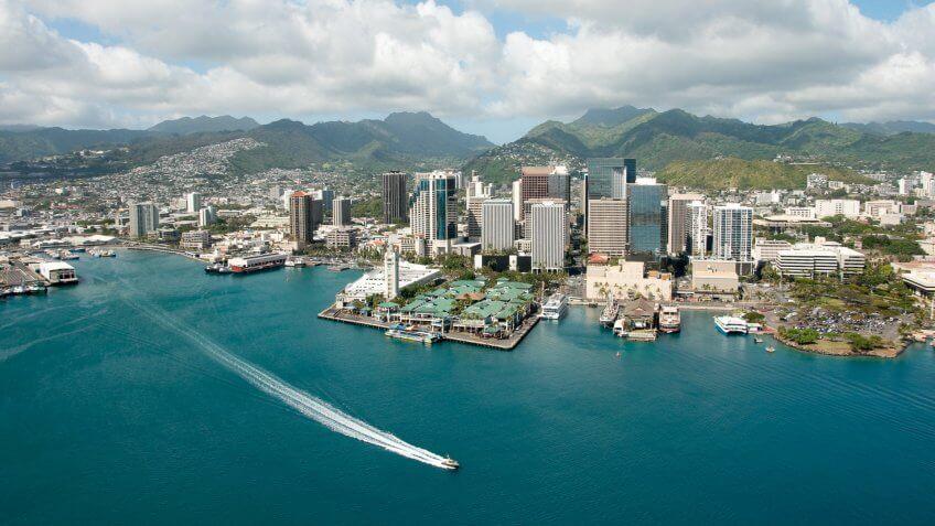 Honolulu Hawaii skyline shot from a Helicopter