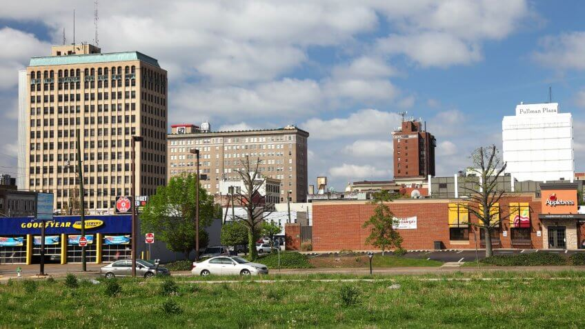 Huntington, West Virginia, USA - April 21, 2011: Downtown skyline in the financial center of West Virginia's second largest city.