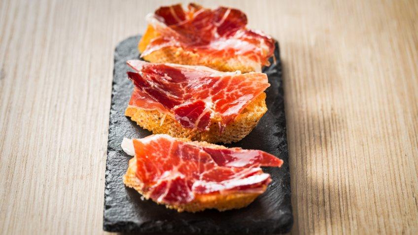 Tapas plate of Iberian ham