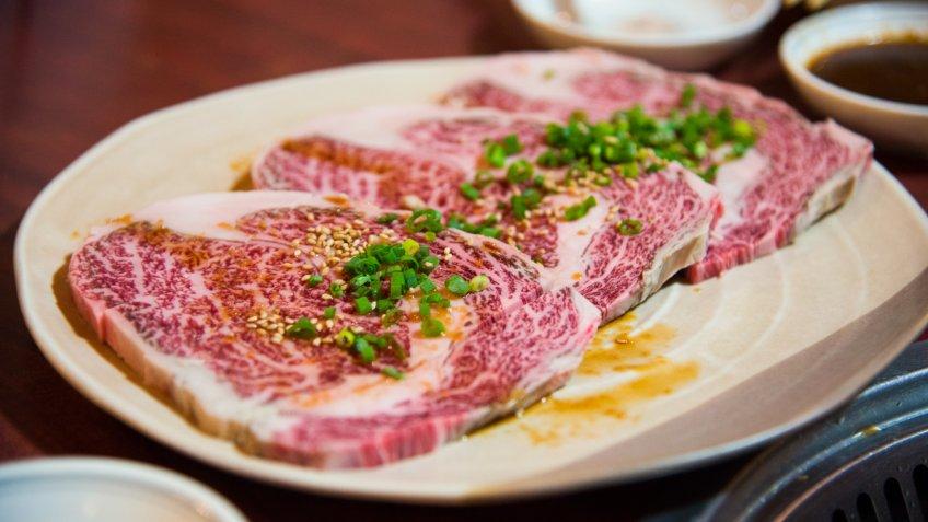 Slices of Japanese kobe beef