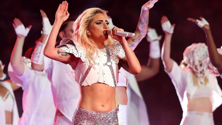 Lady Gaga performs at Super Bowl LI, during half time at the NRG Stadium, Houston, Texas, USA