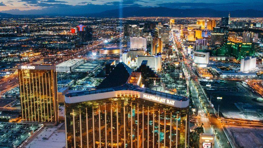 Las Vegas, Nevada, USA -  July 2017: Aerial view of Las Vegas Skyline at Dusk.