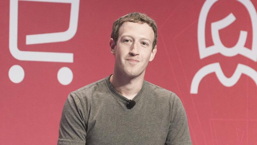 BARCELONA - FEBRUARY 22: Facebook CEO Mark Zuckerberg speaking at the Mobile World Congress on February 22, 2016, Barcelona, Spain.