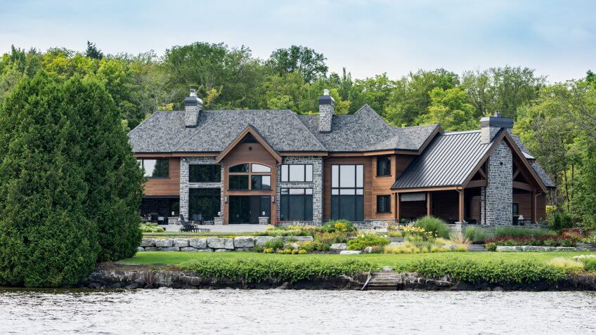 Lac St-Joseph, ?anada - August 18, 2015: Luxurious lakefront property located in Lac St-Joseph, a rich suburb of Quebec City on a sunny day of summer.