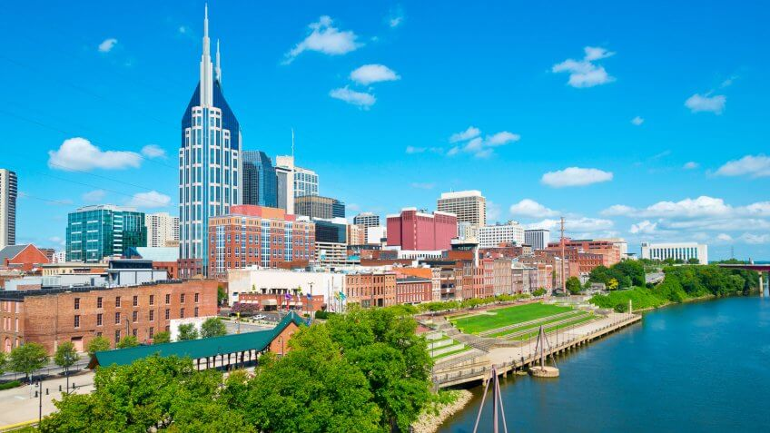 Nashville skyline view from the Shelby Street Pedestrian Bridge at daytime.