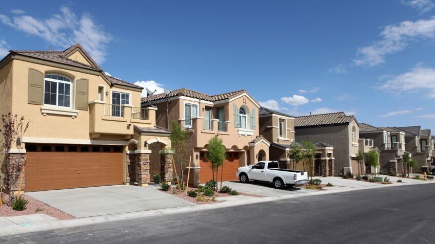 Modern desert suburban housing tract in the Southwestern United States.