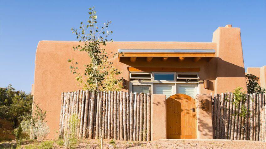 New adobe single family home in Santa Fe, New Mexico.