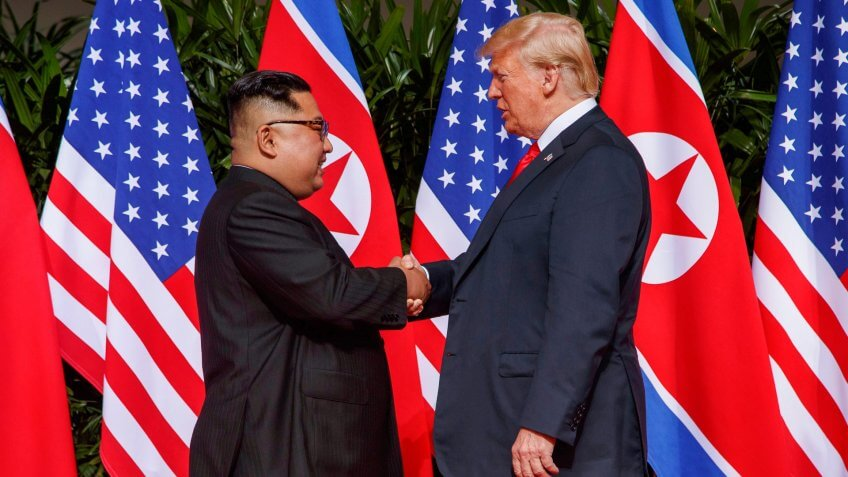 Photo by Evan Vucci/AP/REX/Shutterstock (9710130y)Donald Trump, Kim Jong Un.