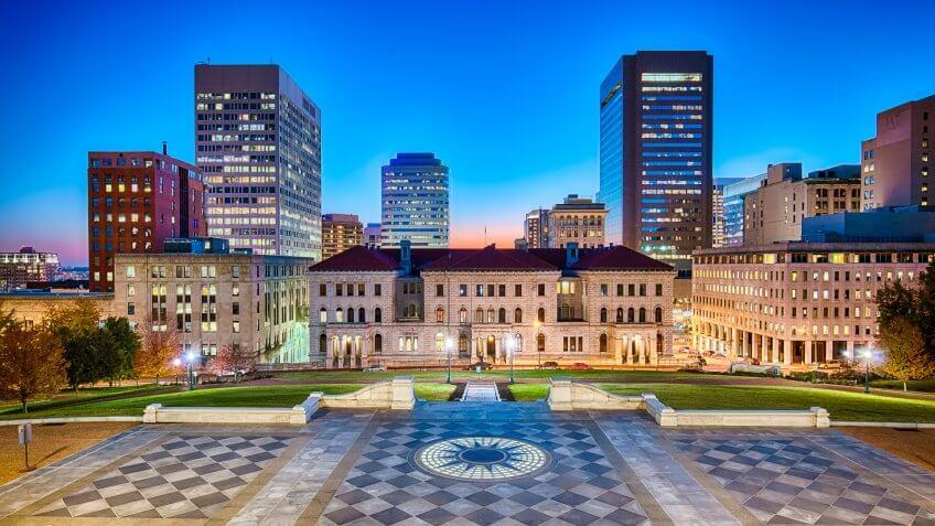 Downtown Richmond, Virginia at night.