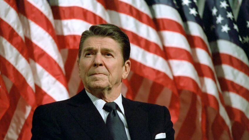 2/8/1982 President Reagan at a rally for Senator David Durenberger in Minneapolis Minnesota.
