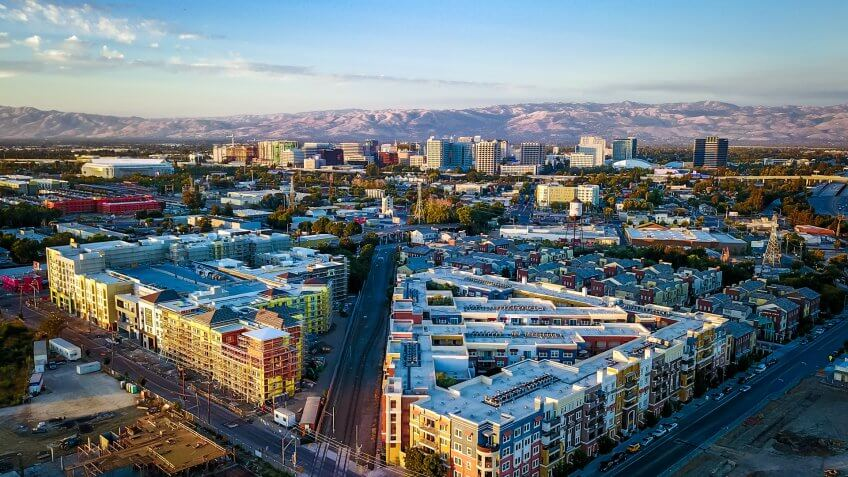 Drone photo of sunset over downtown San Jose in California.