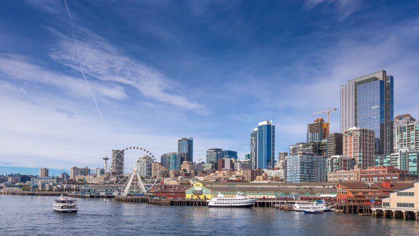 Downtown Seattle on a clear summer afternoon, taken from the ferry between Seattle and Bainbridge Island.