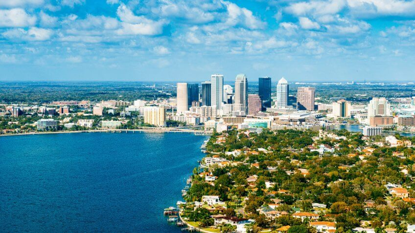 Aerial View of Tampa Skyline, Florida.