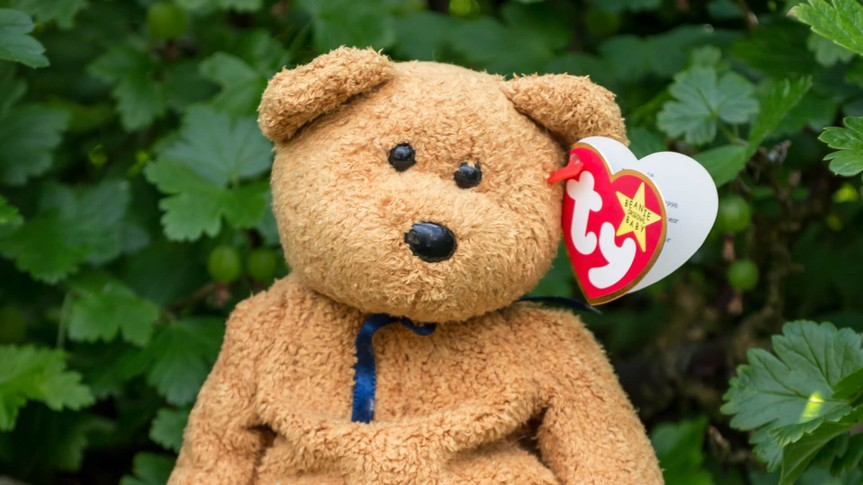 WREXHAM, UK - MAY 31, 2015: Collectible Ty Beanie Baby, Fuzz the bear.