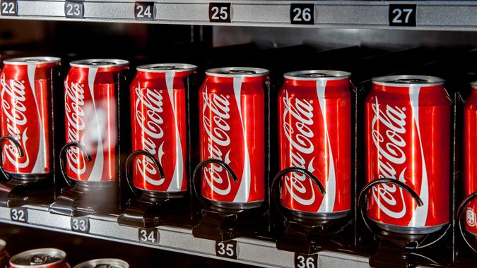MOSCOW, RUSSIA - MARCH 15: Vending machine full of coca-cola cans in Moscow, Russia on March 13, 2015.