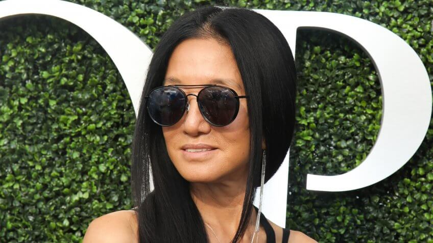 NEW YORK - AUGUST 28, 2017: American fashion designer Vera Wang on the blue carpet before US Open 2017 opening night ceremony at USTA Billie Jean King National Tennis Center in New York.