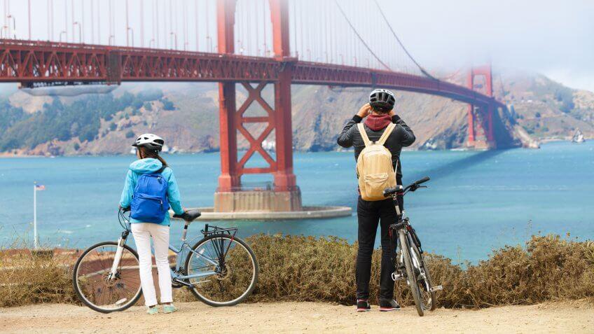bicycles, bicyclists, biking, golden gate bridge, san francisco, tourists