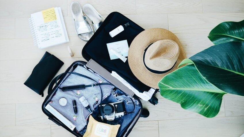 suitcase travel items