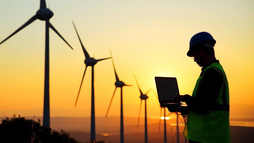 windmill green energy worker