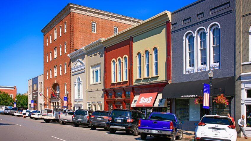 Stores around the Public Square in historic downtown Murfreesboro TN, USA.