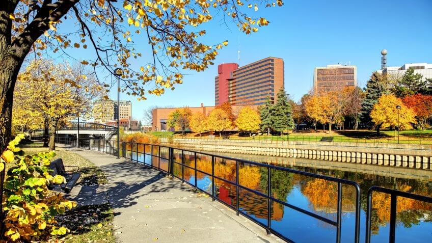 Autumn colors along the Flint River in downtown Flint, Michigan.