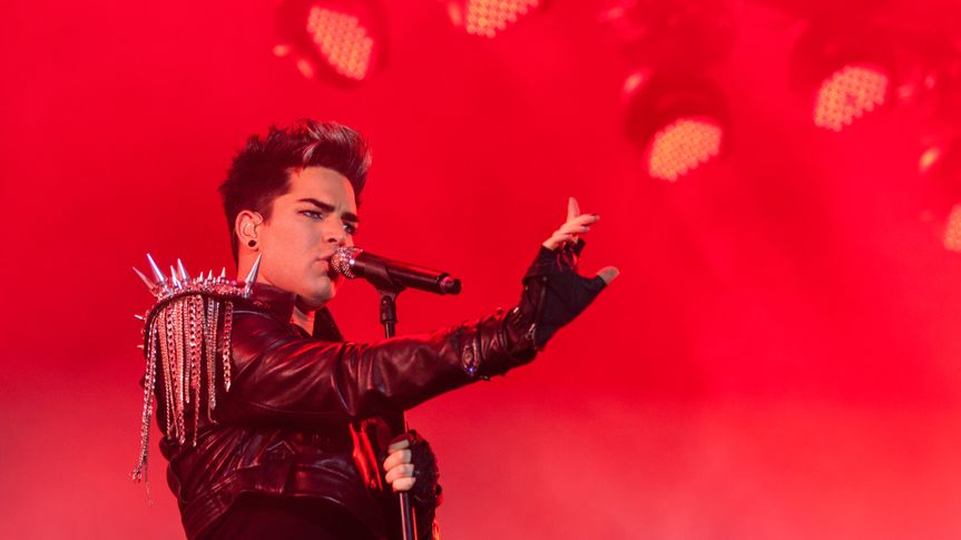 WROCLAW, POLAND - JULY 7: Adam Lambert singing with Queen during Rock in Wroclaw Festival on July 7, 2012 in Wroclaw, Poland.