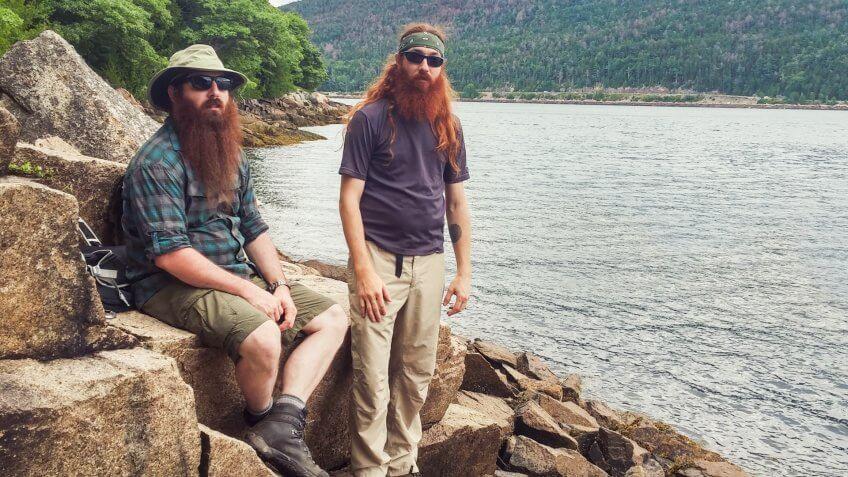 Long Hair Mountain Bearded Men, Acadia National Park Shore, Maine.