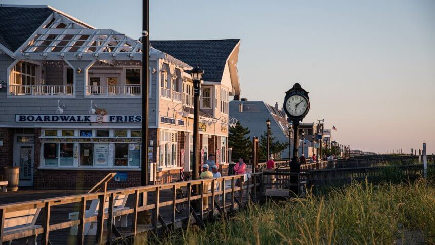 Bethany Beach boardwalk at sunrise.