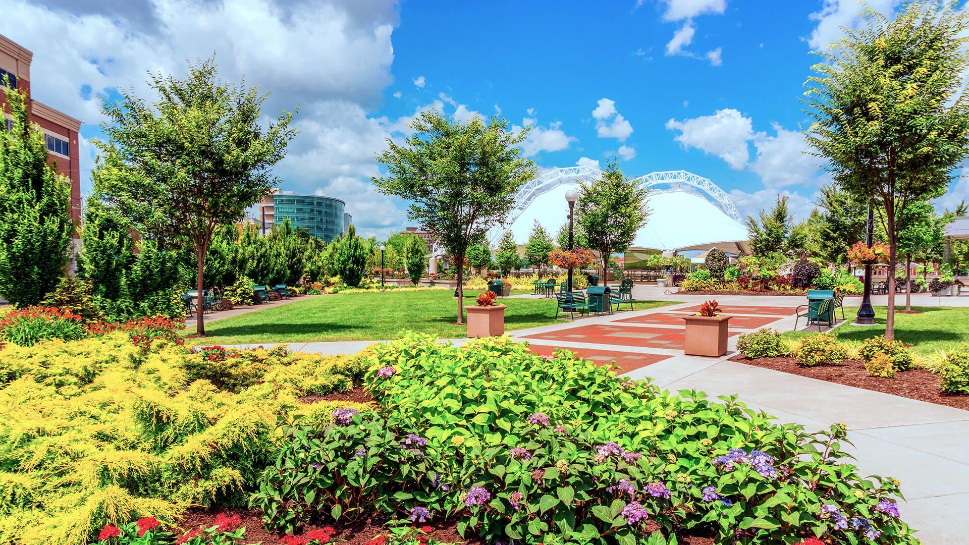 Dayton, Ohio brick path in park, Five Rivers Metropark, Metropark, flower planters in park.