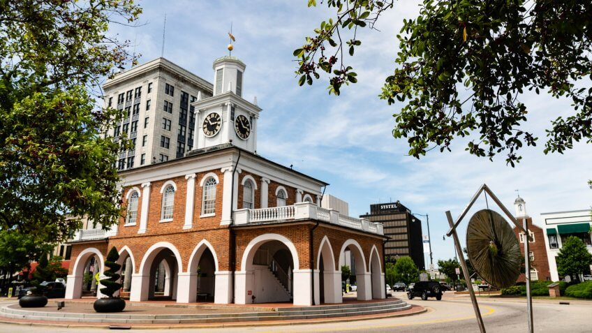The turnabout on Hay Street passes by a historic location in Fayetteville NC.