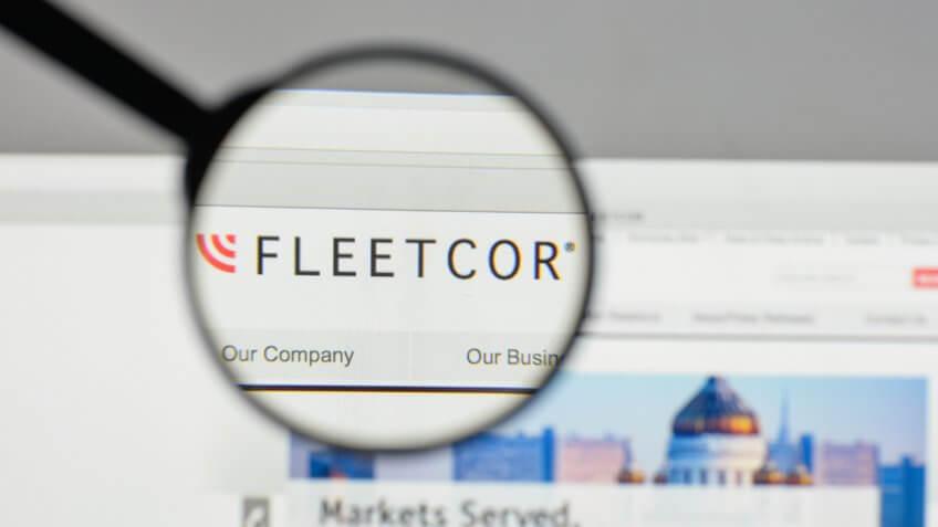 Milan, Italy - August 10, 2017: Fleet Cor Technologies logo on the website homepage.