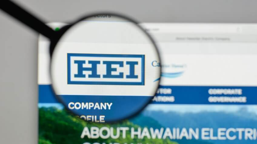 Milan, Italy - August 10, 2017: Hawaiian Electric Industries logo on the website homepage.