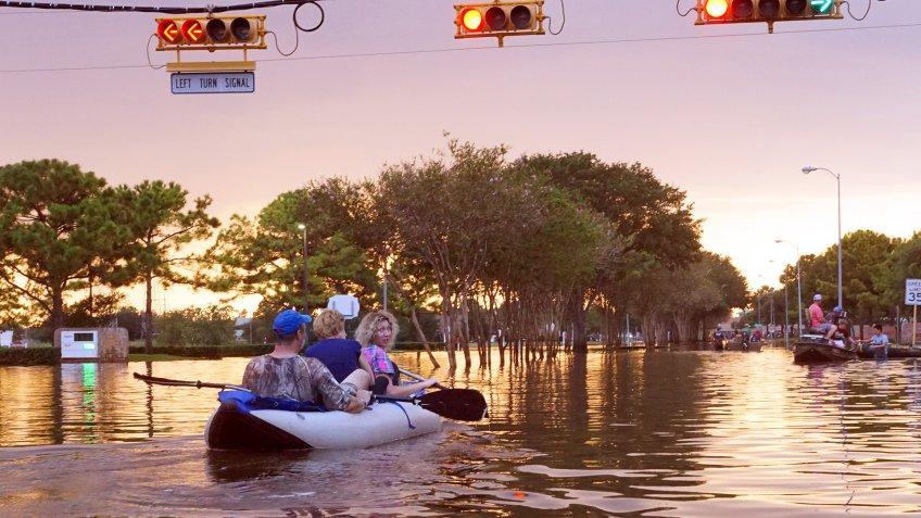 Hurricane Harvey Houston residents use boats to get around