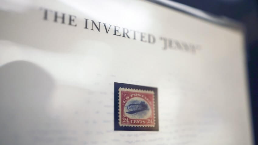 Photo by Wallace Woon/Epa/REX/Shutterstock A Close-up Image of the Inverted 'Jenny' Stamp Valued at 500 000 Us Dollar During a Media Preview of the World Stamp Exhibition in Singapore
