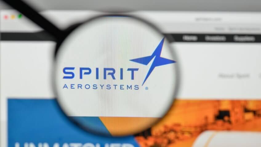 Milan, Italy - November 1, 2017: Spirit Aero Systems Holdings logo on the website homepage.