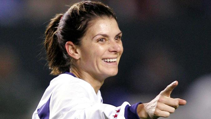 Mandatory Credit: Photo by Mark J Terrill/AP/REX/Shutterstock (6402003c)HAMM Mia Hamm of the United States Women's National team celebrates a goal by teammate Shannon Boxx during the first half against the Mexico Women's National team, Wednesday night, in Carson CalifMEXICO USA, CARSON, USA.