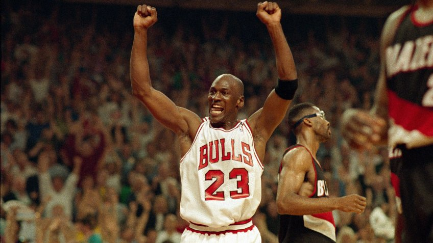 Michael Jordan of the Chicago Bulls celebrating