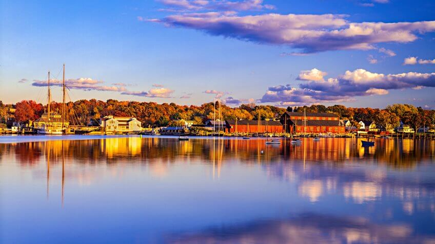 Mystic River across from Historical whaling village of Mystic Seaport Mystic, CT.