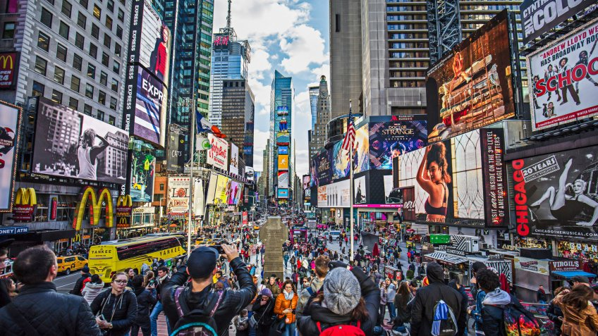 View of crowded Times Square in New York City.