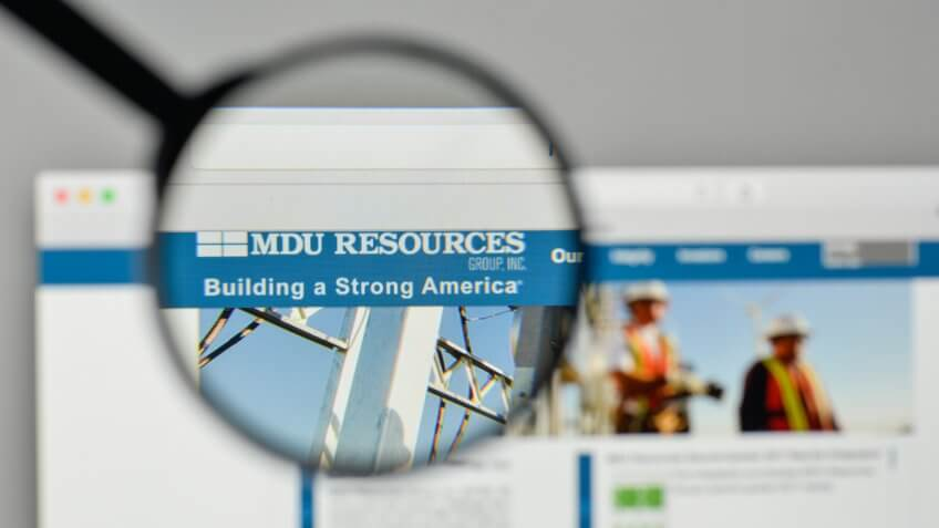Milan, Italy - November 1, 2017: MDU Resources Group logo on the website homepage.