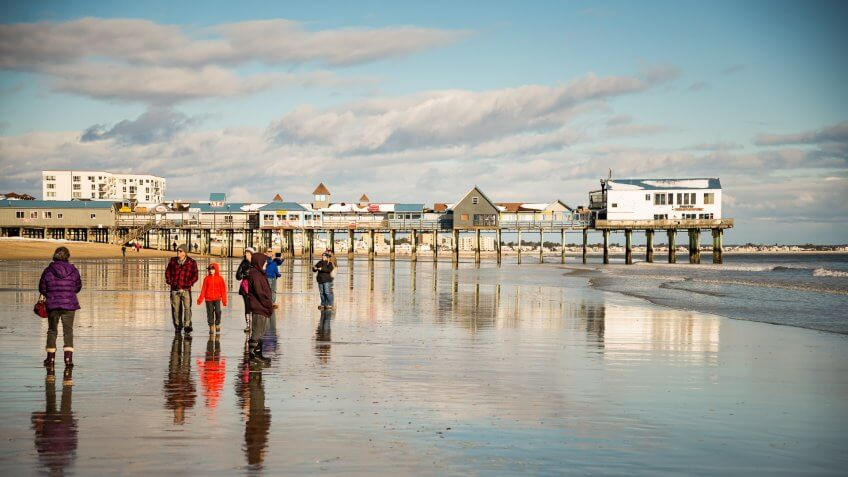 Old Orchard Beach ME - JANUARY 1: The Atlantic Ocean and pier on January 1, 2016 in Old Orchard Beach, Maine.