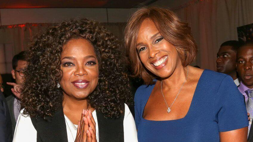 """Photo by Greg Allen/Invision/AP/REX/ShutterstockOprah Winfrey, left, and Gayle King attend the after-party for the premiere of the Oprah Winfrey Network's (OWN) documentary series """"Belief"""", at The TimesCenter, in New YorkNY Premiere of OWN's Documentary Series """"Belief"""" - Inside, New York, USA."""