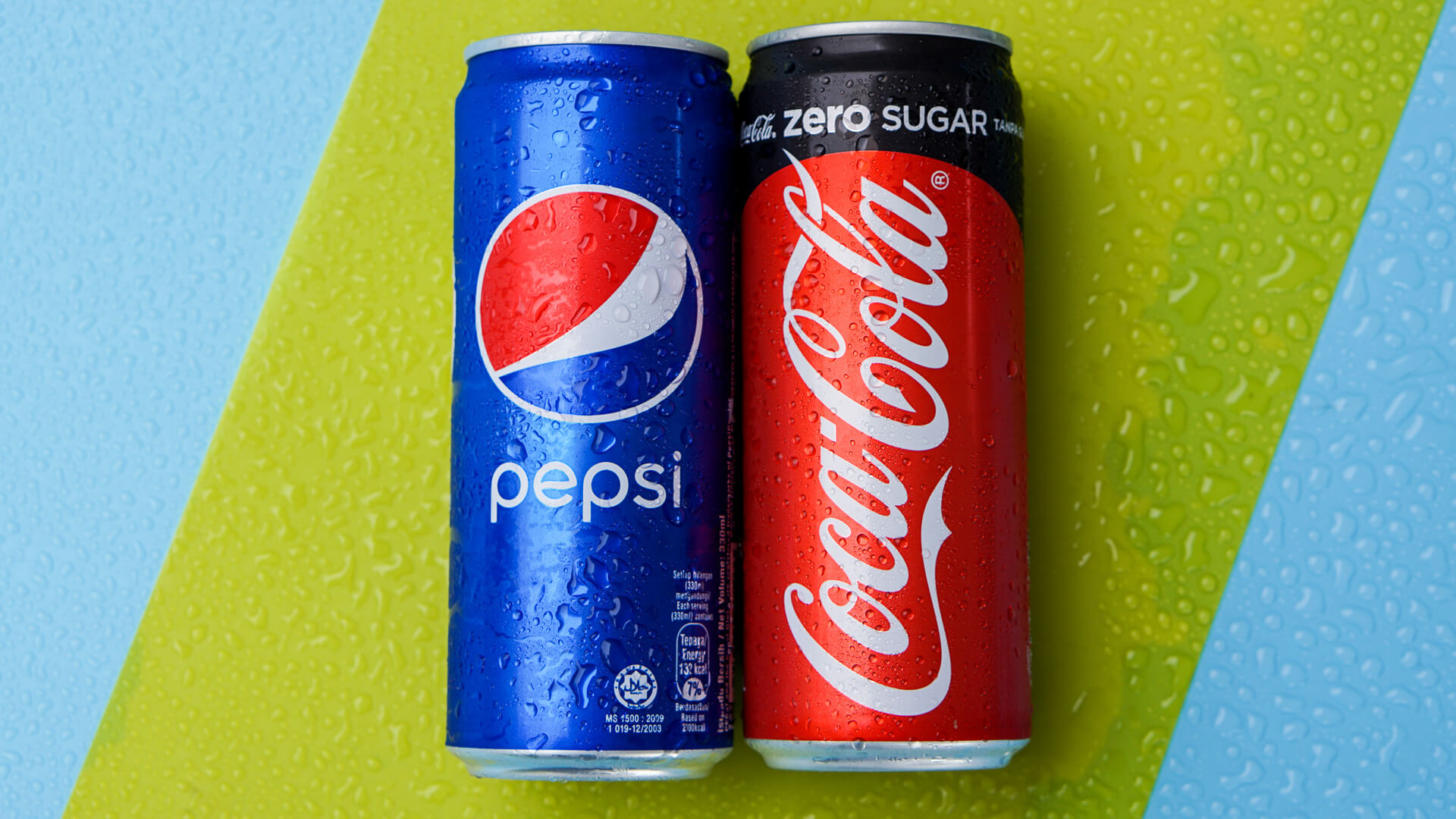 Pepsi and Coca-Cola on green and blue background