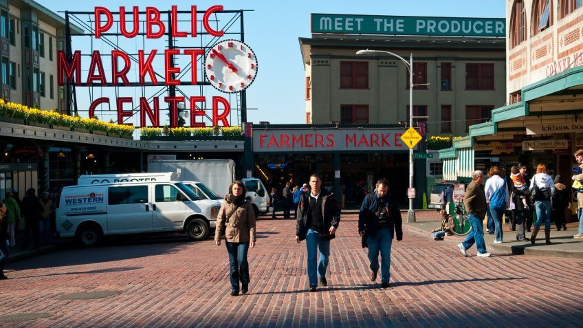 City, City Life, Downtown District, Famous Place, Group Of People, Market, Morning, Pedestrian, Pike Place Market, Seattle, Sign, USA, Urban Scene, Walking, Washington State, people