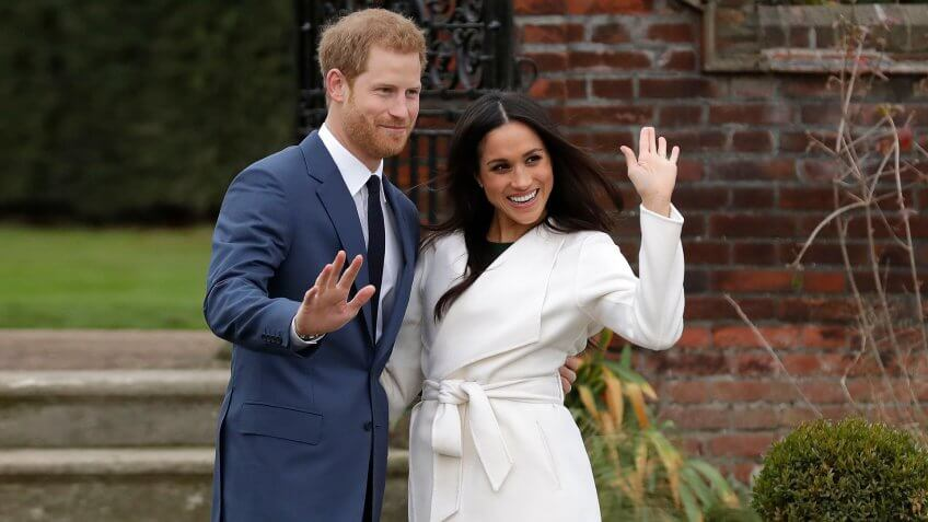 Mandatory Credit: Photo by AP/REX/Shutterstock (9243663h)Britain's Prince Harry and his fiancee Meghan Markle pose for photographers during a photocall in the grounds of Kensington Palace in London, .