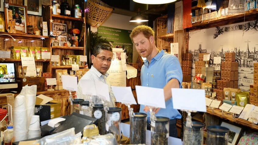 Mandatory Credit: Photo by REX/Shutterstock (8869405e)Prince Harry meets stallholder Ratan Mandal in his Tea shop during a visit to Borough Market in London which has opened yesterday for the first time since the London Bridge terrorist attackPrince Harry visit to Borough Market, London, UK - 15 Jun 2017.