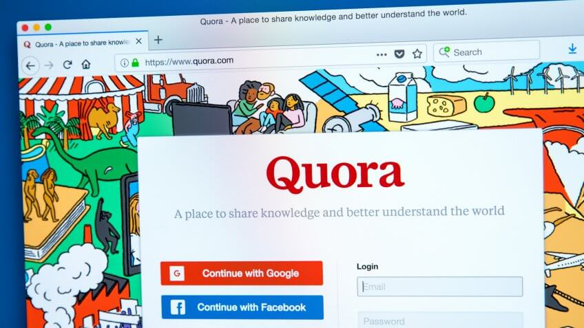 LONDON, UK - JANUARY 15TH 2018: The homepage of the official website for Quora - a question and answer website, on 15th January 2018.