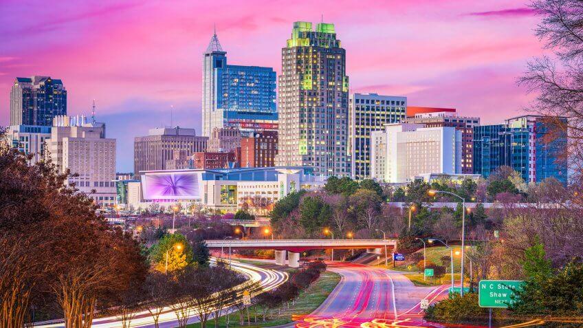 Raleigh, North Carolina downtown city skyline at dusk