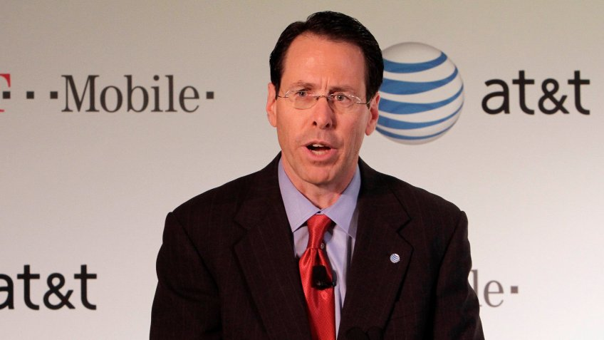 Photo by Richard Drew/AP/REX/Shutterstock (5927983e)AT&T Chairman, CEO and President Randall Stephenson,addresses a news conference in New York, .